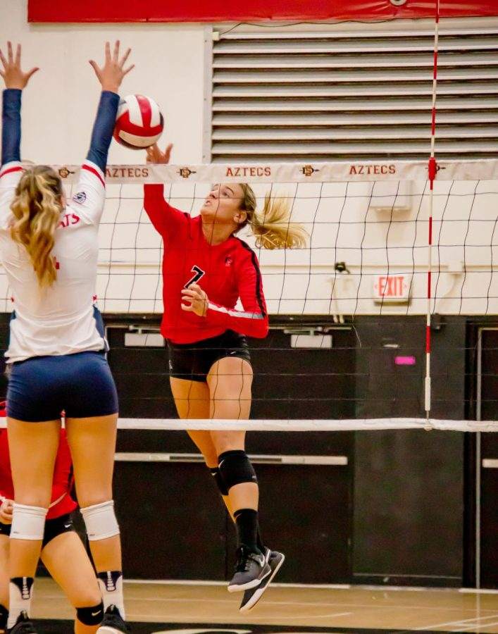 Senior+outside+hitter+Hannah+Turnlund+spikes+the+ball+during+the+Aztecs%E2%80%99+3-0+loss+against+Arizona+on+Sept.+7+at+Peterson+Gym.