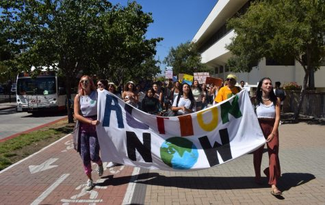 Students protesting at the Climate Strike held on campus.