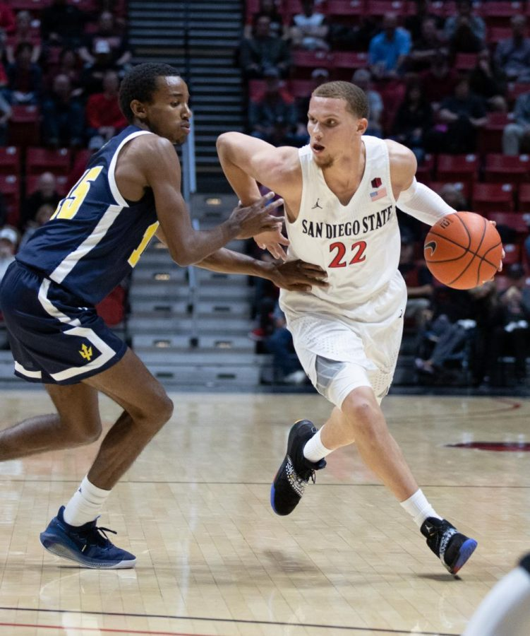 Fans+got+their+first+look+at+transfer+junior+guard+Malachi+Flynn+during+the+Aztecs%27+81-56+exhibition+win+over+UCSD+on+Oct.+30+at+Viejas+Arena.