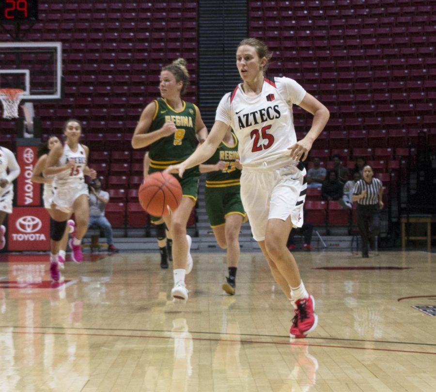 Aztecs+senior+guard+Taylor+Kalmer+looks+to+drive+into+the+paint+during+SDSU%27s+exhibition+against+Regina+on+Oct.+27%2C+2019+at+Viejas+Arena.