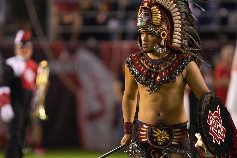 Aztec Warrior at a SDSU football game.