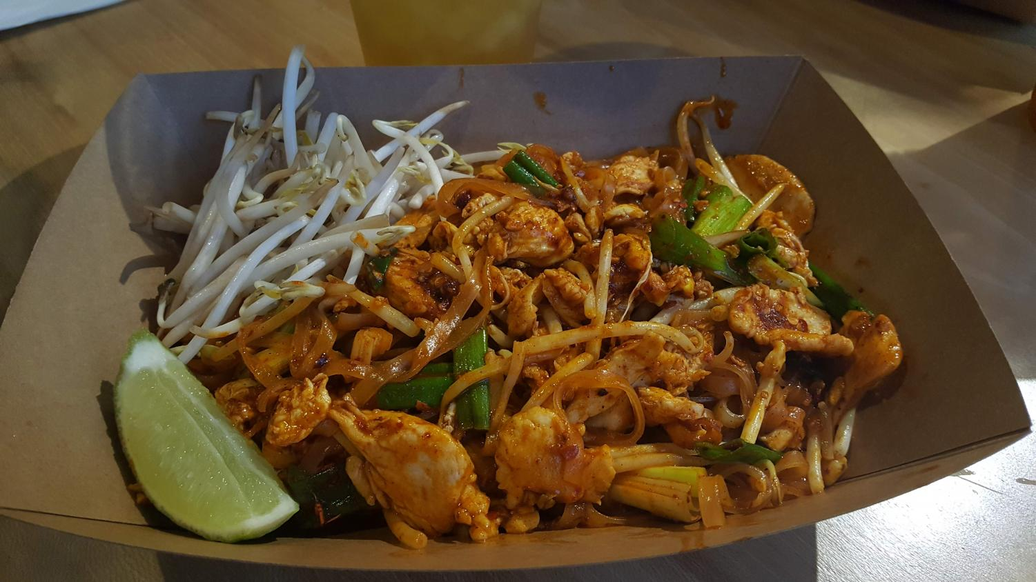 Pad Thai noodles with chicken.