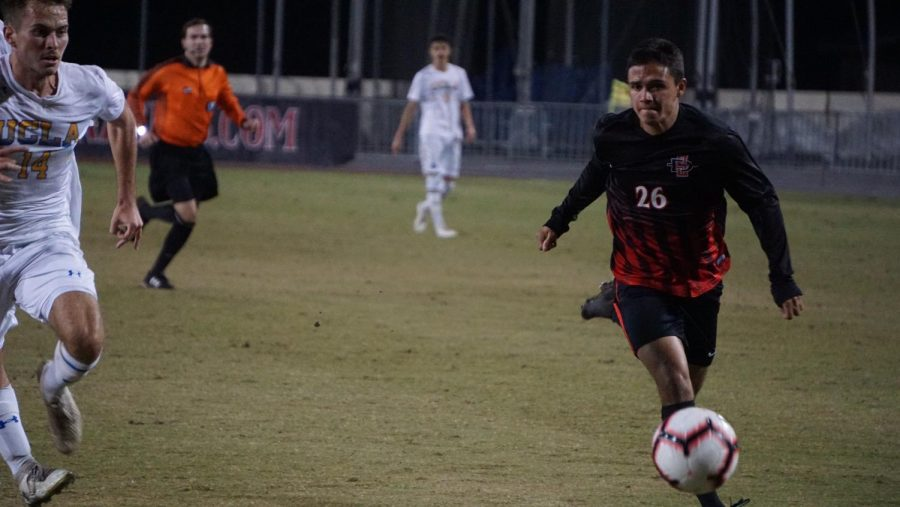 Freshman midfielder Blake Bowen pushes the ball up the field during the Aztecs' 1-0 loss to UCLA on Nov. 16 at the SDSU Sports Deck.