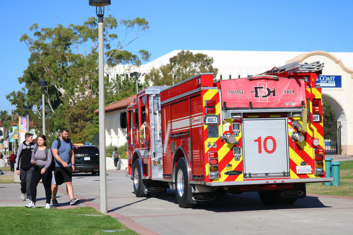 A firetruck drives along Campanile walkway around 1 p.m. on Nov. 12 during a campus power outage.