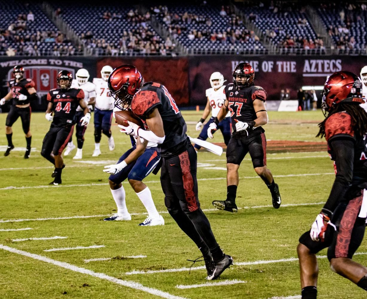 Senior cornerback Luq Barcoo intercepts a pass during the Aztecs' 17-7 win over Fresno State on Nov. 15 at SDCCU Stadium.
