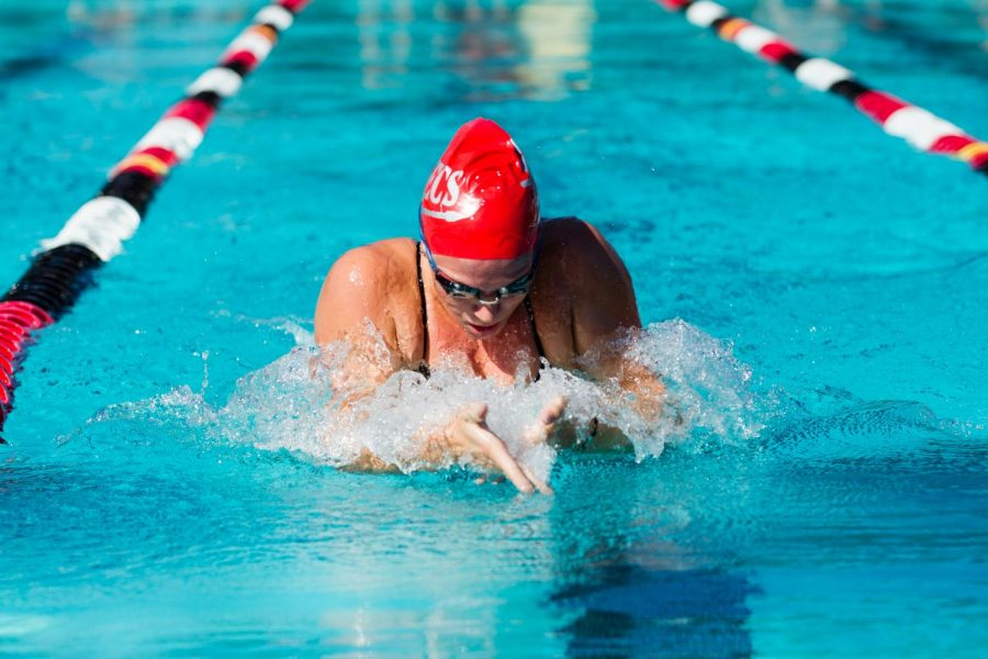 Senior swimmer Morganne McKennan swims during a breaststroke event at the Aztec Aquaplex. McKennan set a program record for the fastest long course time in the breaststroke during the Mizzou Invitational Long Course Time Trials on Nov. 19.