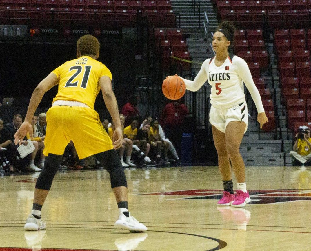 Junior guard Téa Adams looks to attack the Towson defense during the Aztecs' 80-72 victory over the Tigers on Nov. 9 at Viejas Arena.
