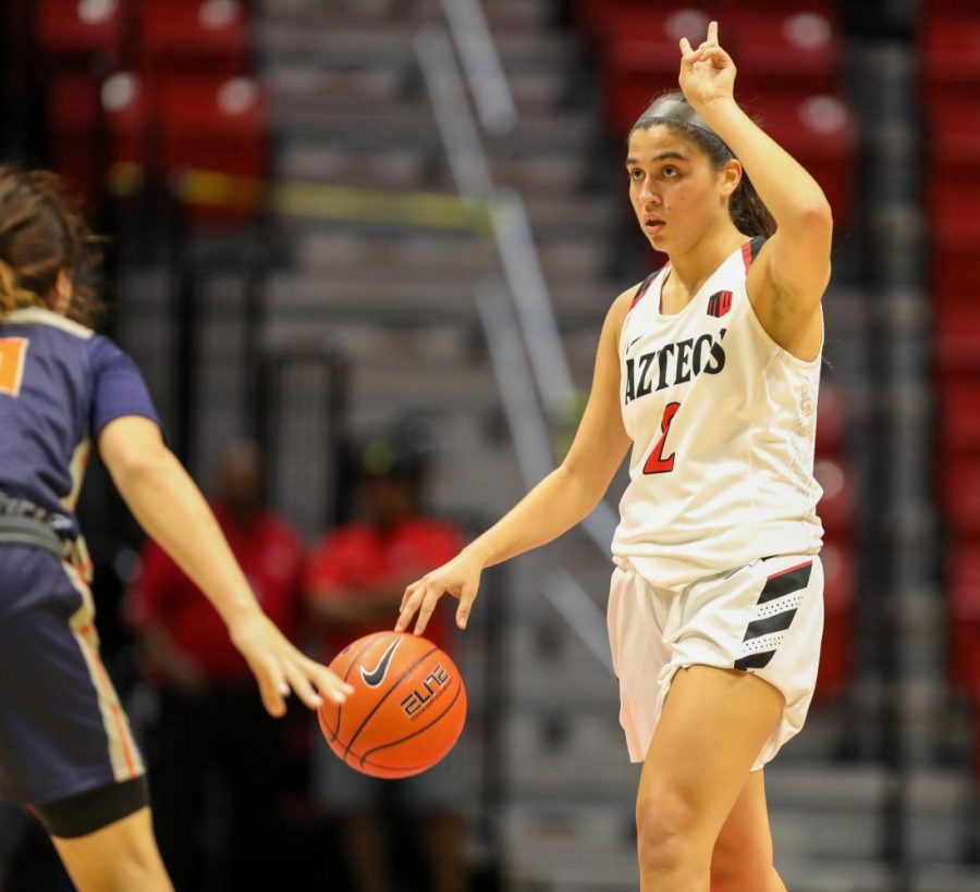 Sophomore+guard+Sophia+Ramos+calls+a+play+during+the+Aztecs%E2%80%99+55-45+win+over+Cal+State+Fullerton+on+Nov.+17+at+Viejas+Arena.