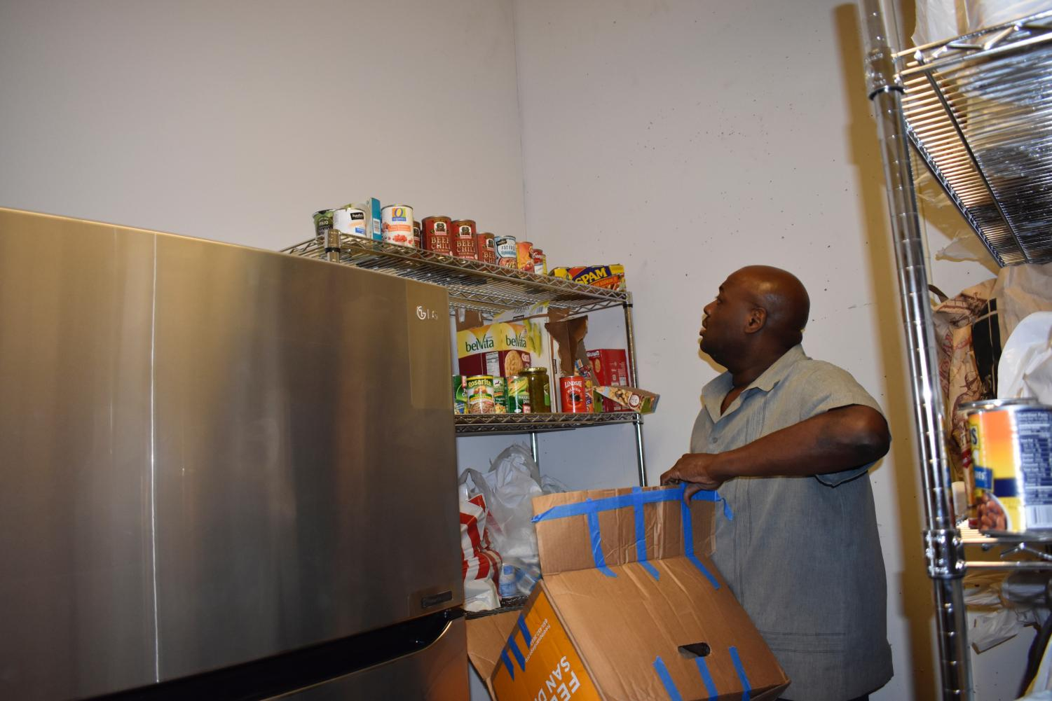 Dr. Coker moves food into multiple buildings for students who may be going hungry. They can come get food at the pantries for free.