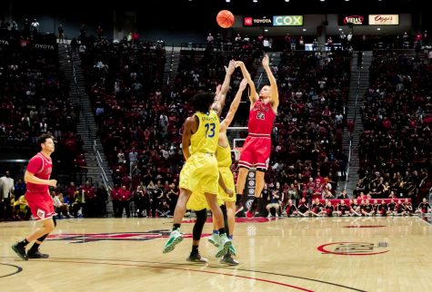 "Then-junior guard Malachi Flynn hits a game-winning 3-pointer to give the Aztecs a 59-57 victory over San José State on Dec. 8, 2019 at Viejas Arena. ""The Shot"" preserved the Aztecs"
