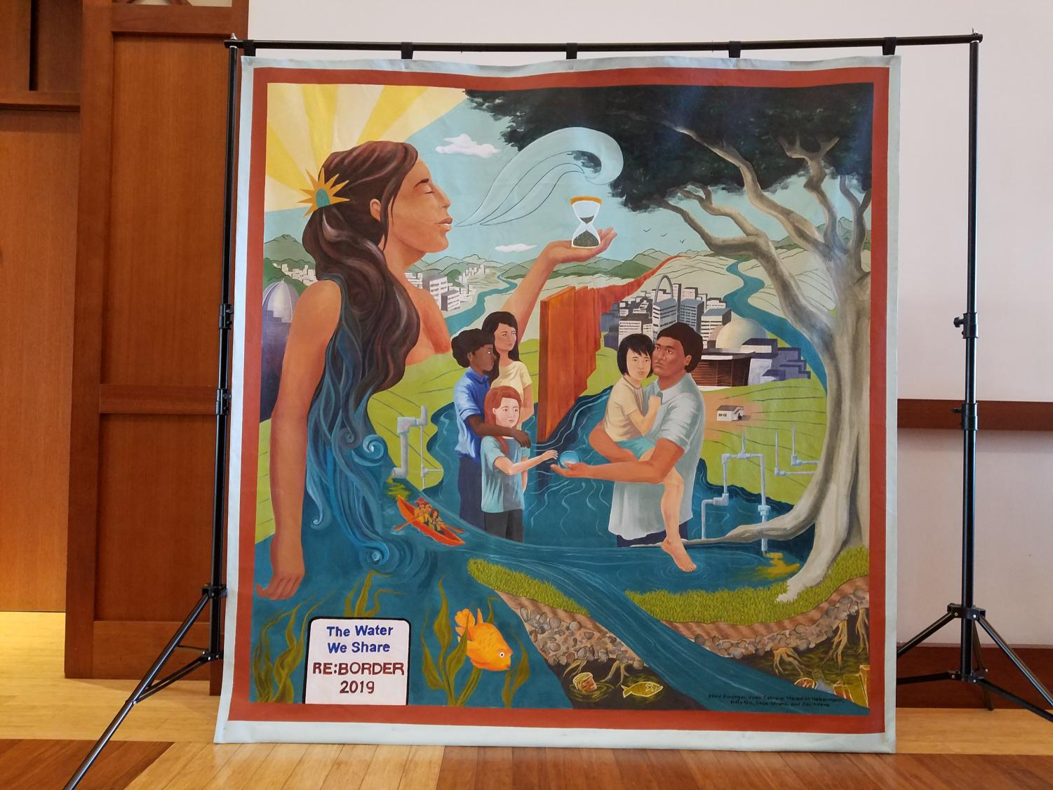 Above is a painting that was done for the Reborder Conference by Kline Swonger, Juan Cabrera Meredith Habermann, Kitty Nix, Sage Serano and Zac Keane.