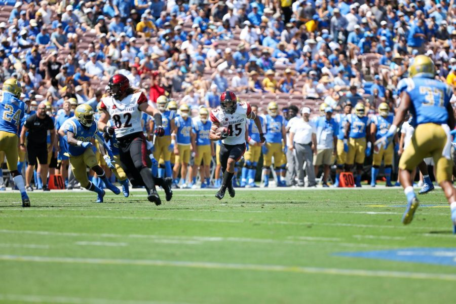 Redshirt freshman wide receiver Jesse Matthews runs upfield during the Aztecs 23-14 win over UCLA on Sept. 7 at the Rose Bowl in Pasadena.
