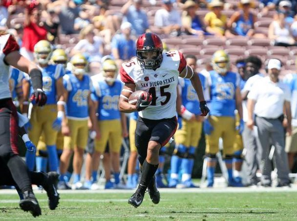 Redshirt freshman wide receiver Jesse Matthews runs upfield during the Aztecs' 23-14 win over UCLA on Sept. 7 at the Rose Bowl in Pasadena.