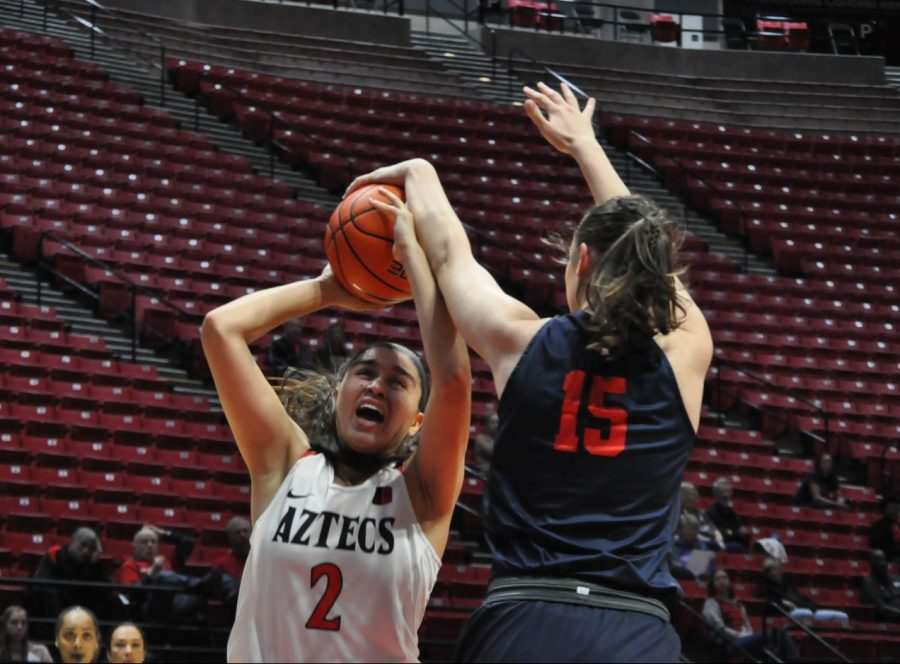 Sophomore+guard+Sophia+Ramos+goes+up+for+a+contest+layup+during+the+Aztecs%27+65-60+loss+to+Fresno+State+on+Jan.+15+at+Viejas+Arena.