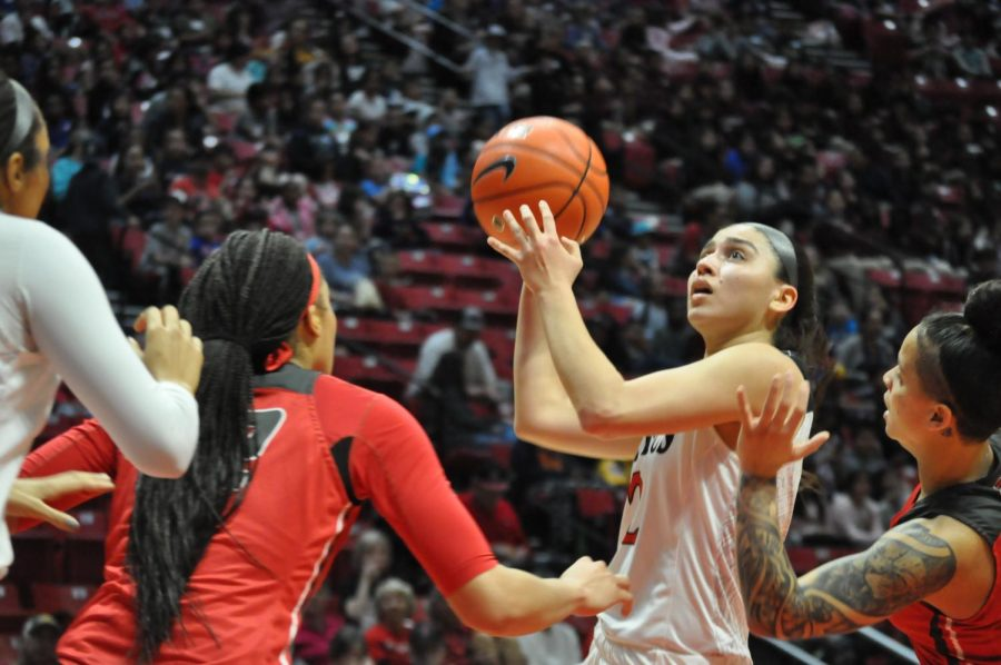 Sophomore guard Sophia Ramos goes in for a floater during the Aztecs' 75-74 win over New Mexico on Jan. 29 at Viejas Arena.
