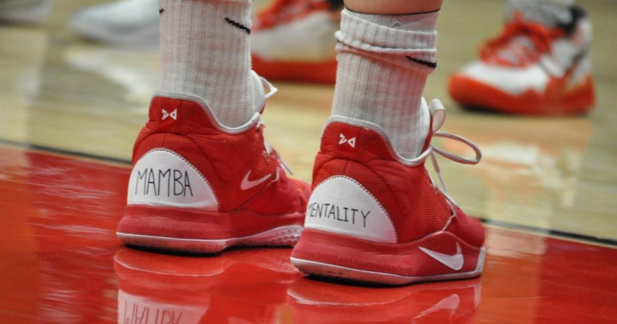 "Senior center Zayn Dornstauder honors Kobe Bryant by writing on her sneakers ""Mamba Mentality."""