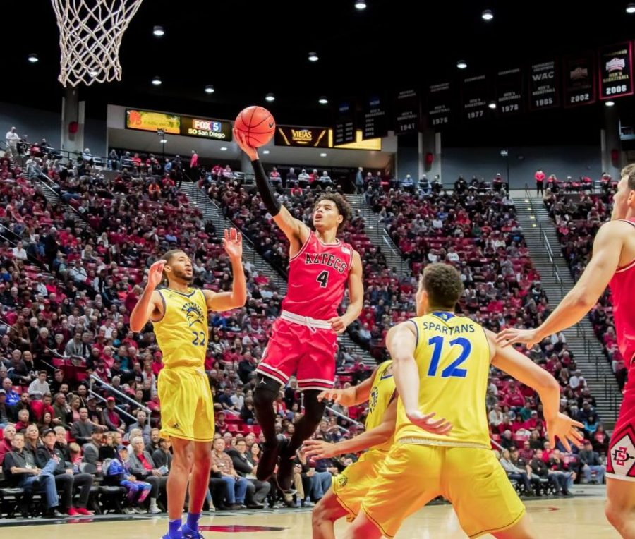 Junior guard Trey Pulliam goes for a layup during the Aztecs' 59-57 win over San José State on Dec. 8 at Viejas Arena.