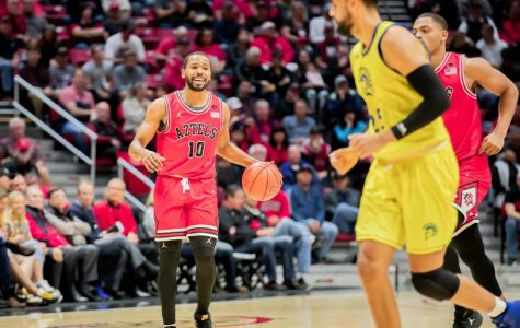Aztecs senior guard KJ Feagin brings the ball off the court during a 59-57 win over San José State on Dec. 8 at Viejas Arena.