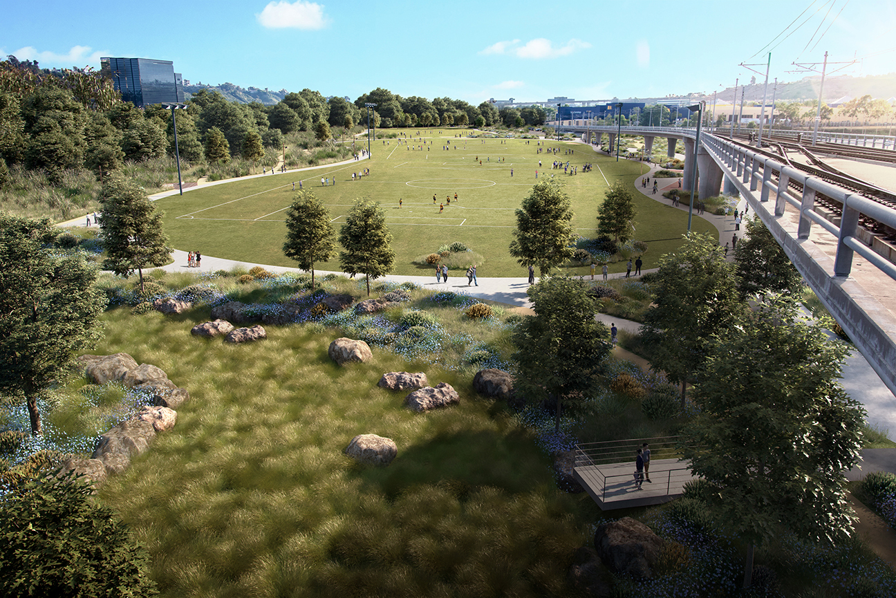 A rendering of public recreation spaces at SDSU Mission Valley.