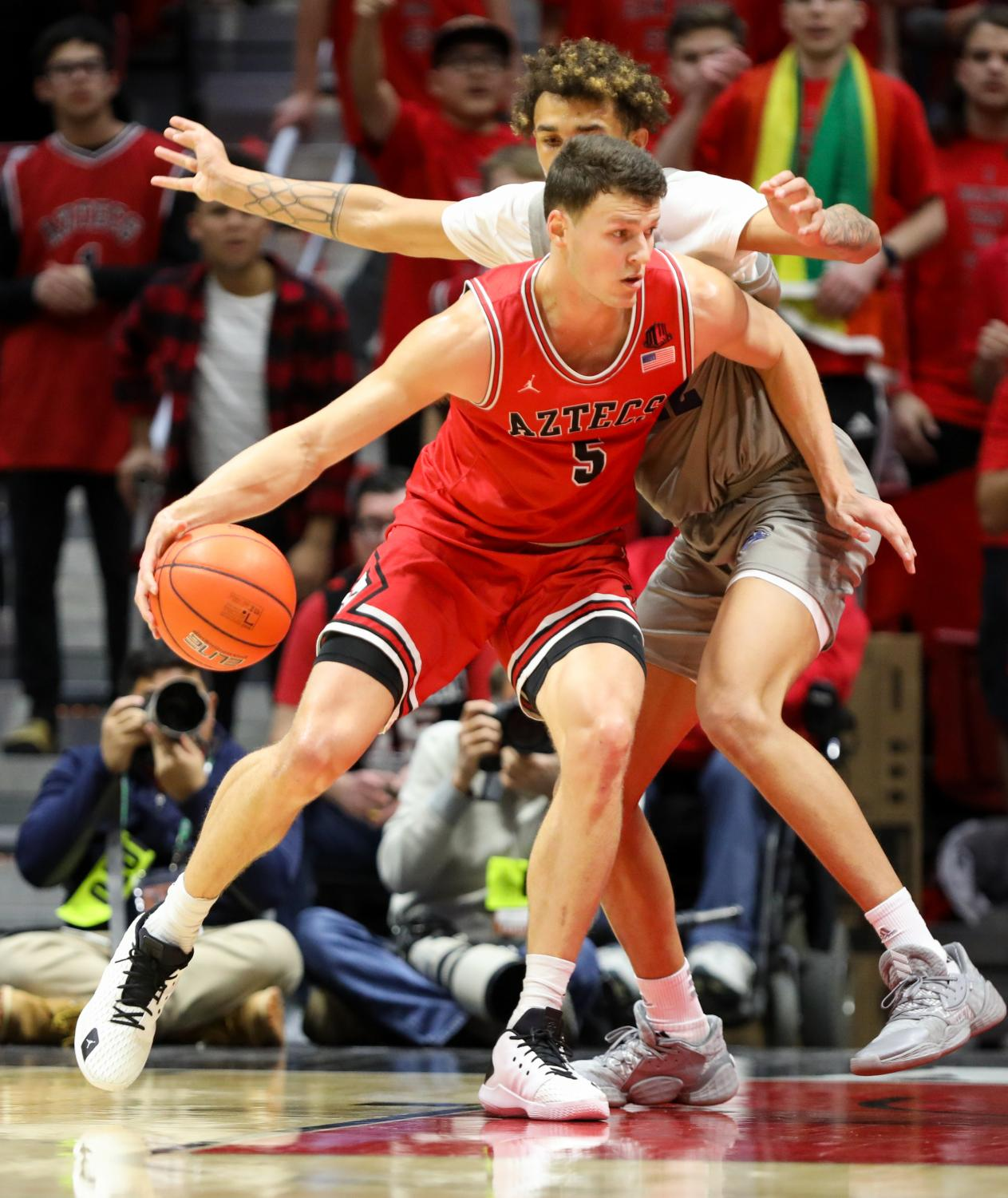 Senior forward Yanni Wetzell attempts to get to the basket in the Aztecs' 68-55 win over Nevada on Jan. 18 at Viejas Arena.