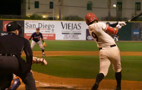 Junior outfielder Matt Rudick makes contact with a pitch during the Aztecs' 8-4 win over Cal State Fullerton on Feb. 18 at Tony Gwynn Stadium.