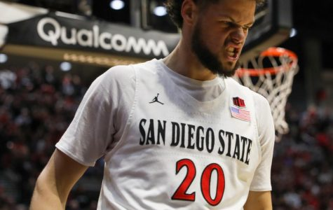 Junior guard Jordan Schakel reacts after a play during the Aztecs' 66-60 win over Colorado State on Feb. 25 at Viejas Arena.