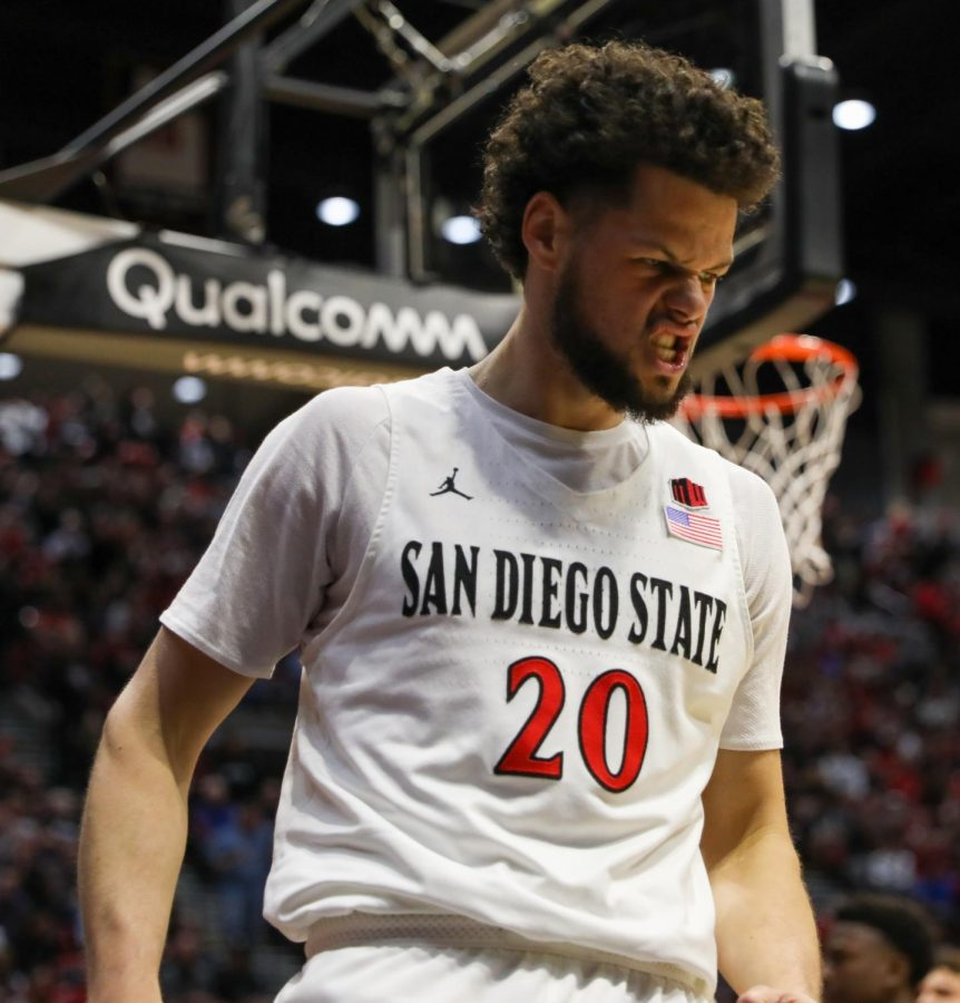 Junior+guard+Jordan+Schakel+reacts+after+a+play+during+the+Aztecs%27+66-60+win+over+Colorado+State+on+Feb.+25+at+Viejas+Arena.