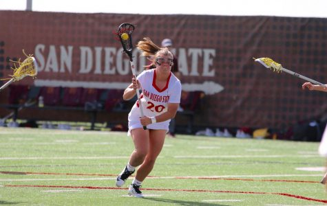 Freshman attacker  Camdyn O' Donnell looks to score during the Aztecs' 19-18 win over Arizona State on Feb. 21. O' Donnell also scored the game-winning goal in the closing seconds to defeat the Sun Devils.