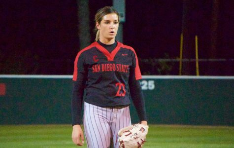 Junior pitcher Maggie Balint gets ready to throw her next pitcher during the Aztecs' 3-0 loss to BYU on Feb. 13 at SDSU Softball Stadium.