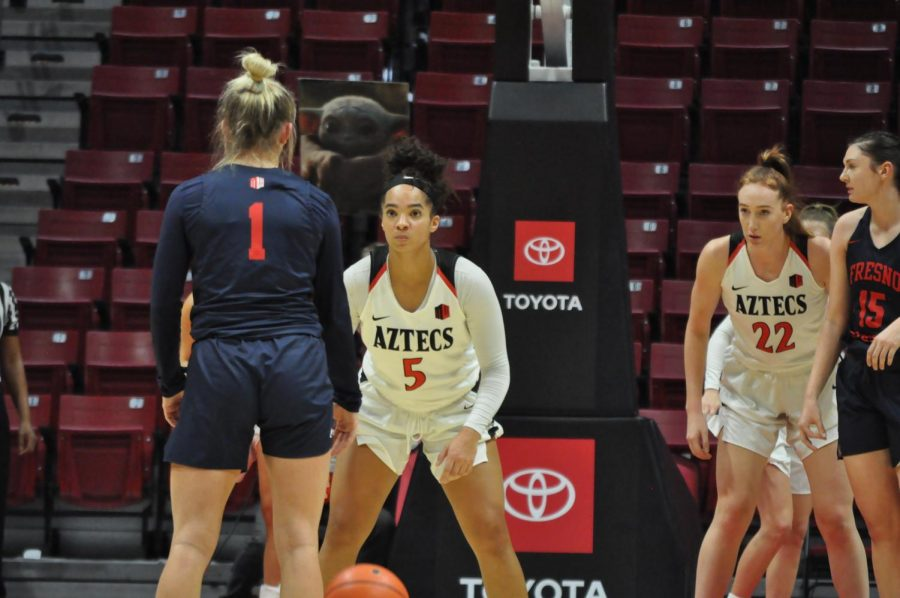 Junior guard Téa Adams looks to defend a Fresno State player during the Aztecs' 65-60 loss on Jan. 15 at Viejas Arena.
