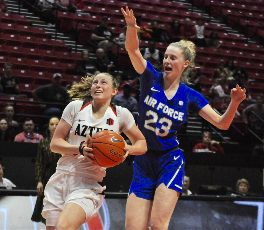Senior guard Taylor Kalmer goes pass the Air Force defender for a layup. Kalmer has had 19 straight double-digit scoring games – the longest streak by an Aztec in the Mountain West era (since 1999).