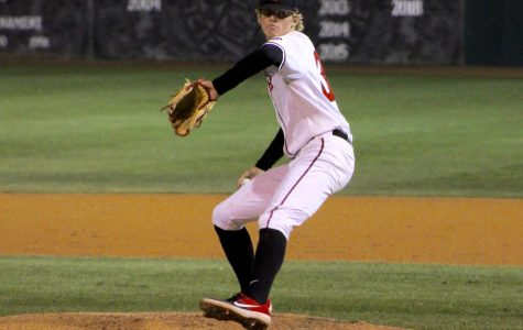 Sophomore pitcher Troy Melton delivers a pitch during the Aztecs' 4-2 win over Nebraska on Feb. 22 at Tony Gwynn Stadium.