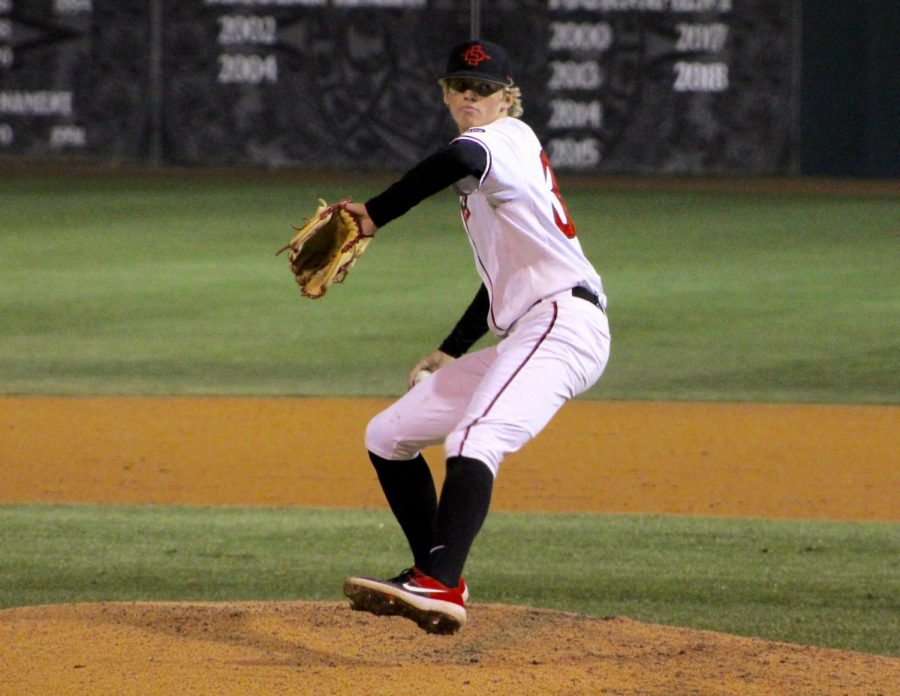 Sophomore+pitcher+Troy+Melton+delivers+a+pitch+during+the+Aztecs%27+4-2+win+over+Nebraska+on+Feb.+22+at+Tony+Gwynn+Stadium.