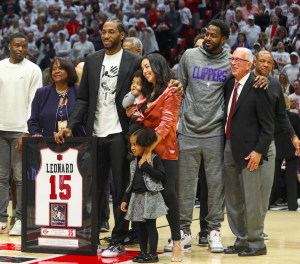 Kawhi Leonard's jersey sits alone atop the Viejas Arena rafters