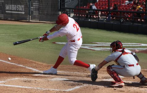 Sophomore first baseman and pitcher Brian Leonhardt swings at a pitch during SDSU's 11-5 loss to USC on Feb. 23 at Tony Gwynn Stadium.