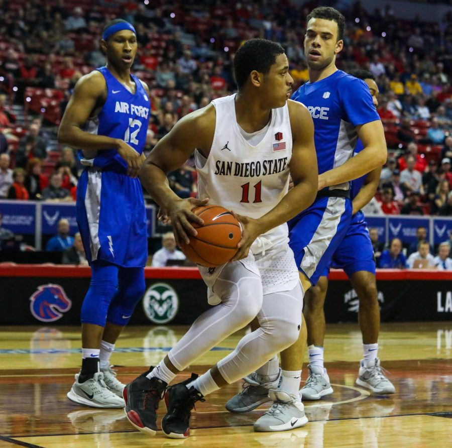 Junior forward Matt Mitchell looks to pass the ball during the Aztecs' 73-60 win over Air Force at Thomas and Mack Center on March 5.
