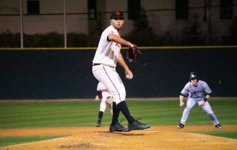 Sophomore pitcher Brian Leonhardt looks to throw a strike during the Aztecs' 7-2 win over Long Beach State on March 4 at Tony Gwynn Stadium. Leonhardt pitched four shutout innings and went 2-for-4 from the plate.