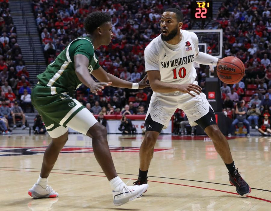 Senior guard KJ Feagin looks to get past a Colorado State defender in the Aztecs 66-60 win over the Rams on Feb. 25 at Viejas Arena.