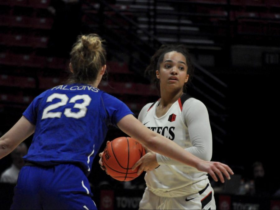 Junior guard Téa Adams looks for an open teammate during the Aztecs' 51-49 loss to Air Force on Feb. 8 at Viejas Arena.