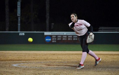 Junior pitcher Maggie Balint throws a pitch during the Aztecs' 3-2 victory against Cal State Fullerton on Feb. 14 at SDSU Softball Stadium.