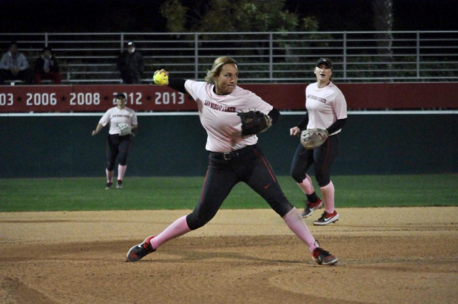 Junior infielder Kelsey Munoz prepares to make a throw to first base during the Aztecs' 3-2 victory against Cal State Fullerton on Feb. 14 at SDSU Softball Stadium.