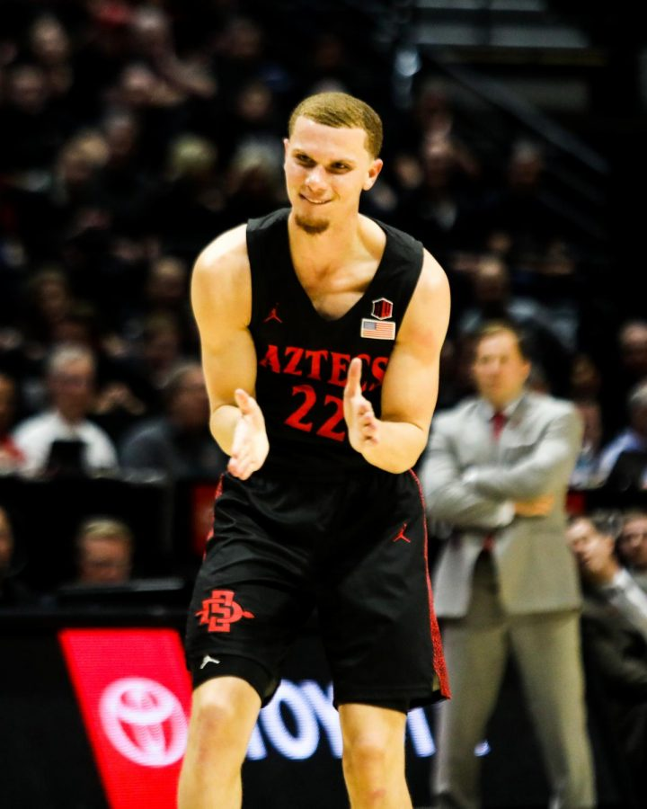 Junior+guard+Malachi+Flynn+claps+his+hands+after+a+play+during+the+Aztecs%27+66-63+loss+to+UNLV+on+Feb.+22+at+Viejas+Arena.