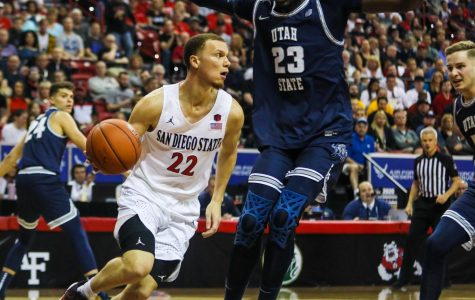 Junior guard Malachi Flynn dribbles past Utah State sophomore center Neemias Queta during the Aztecs' 59-56 loss against Utah State at Thomas and Mack Center on March 7.