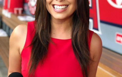 SDSU alumna Alexa Curry currently works as the Los Angeles Angels' sideline reporter for Fox Sports.