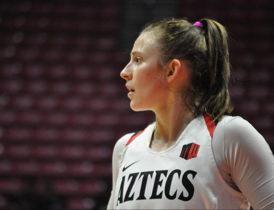 Then-senior+guard+Taylor+Kalmer+looks+towards+the+court+during+the+Aztecs%27+75-74+win+over+New+Mexico+on+Jan.+29+at+Viejas+Arena.