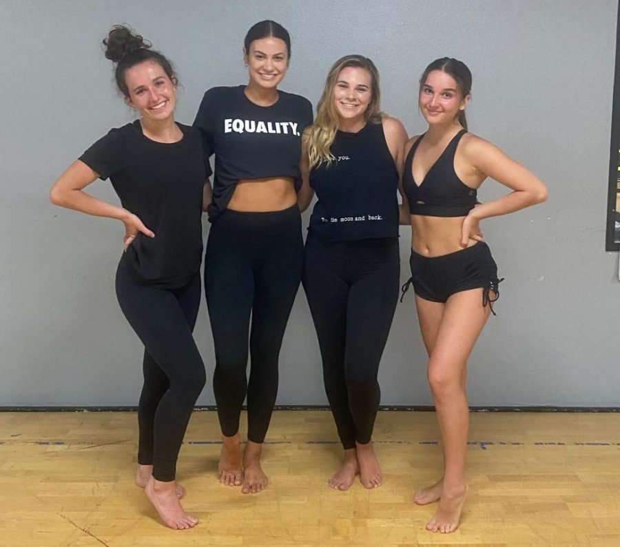 SDSU+alumni+Rachel+Hanson+%28second+to+left%29+and+Tory+Brown+%28second+to+right%29+pose+with+their+fellow+dance+instructors+during+the+Black+Lives+Matter+Master+Class+fundraiser+on+June+13.