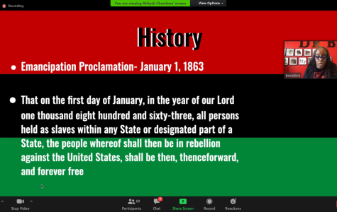 A screenshot of the Black Resource Center Director Bonnie Reddick discussing the history of Juneteenth.