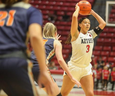 Then-sophomore forward Mallory Adams attempts to pass to a teammate during the Aztecs