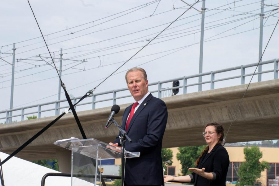 Then-San Diego mayor Kevin Faulconer speaks at the Aug. 17 ground breaking ceremony for Aztec Stadium.