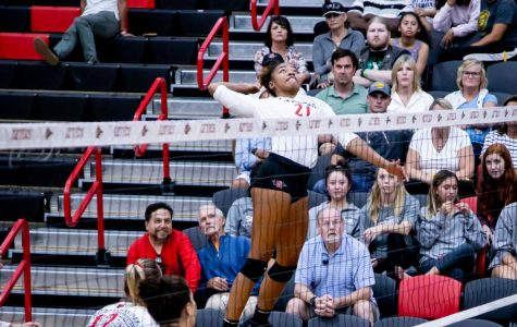 San Diego State volleyball then-sophomore outside hitter Victoria O'Sullivan elevates to spike the ball during the Aztecs' 3-2 win over San Jose State on Sept. 26, 2019 at Peterson Gym.